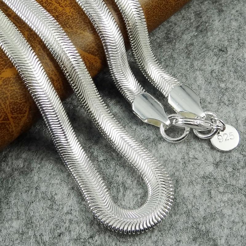 """6MM 16,18 de 20,22 24 """"925 collar de plata esterlina serpiente hueso collar de cadena para los hombres las mujeres joyería de moda gargantilla"""
