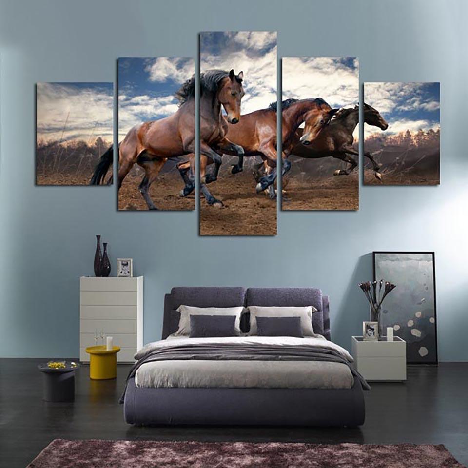 Современный домашний декор, холст для гостиной, 5 панелей, тонкая лошадь, бег, каркас, настенный художественный постер, HD печать, живопись, мо...
