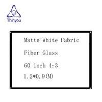 Thinyou     ecran de projecteur mural Simple en Fiber de verre  60 pouces  4 3  tissu blanc mat  pour Home cinema et ecole daffaires