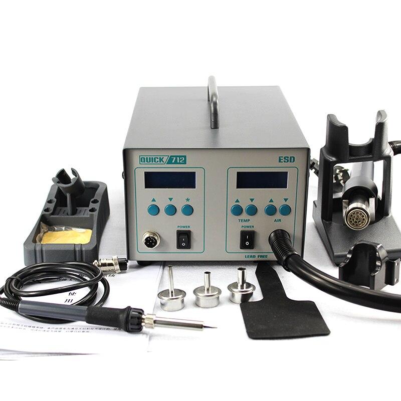 QUICK 712 Intelligent ESD Rework System 1000W Desoldering Heat Gun +Soldering Station Lead Free Welding