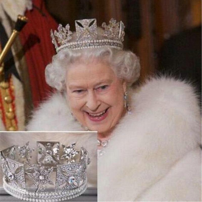 Corona de lujo para novia de la Reina Elizabeth corona europea barroca tocado accesorios para el cabello de boda Clips de pelo de belleza coronas de la realeza
