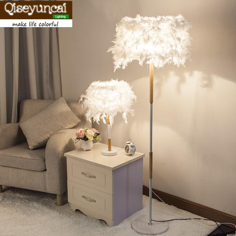 Qiseyuncai Modern minimalist creative fashion feather table lamp floor lamp living room bedroom warm romantic lighting