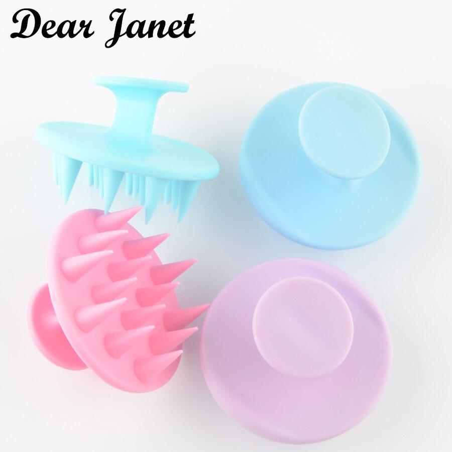 1pc 長い歯全体シリコーン洗濯髪のくしシャワーシャワーヘッドブラシ簡単に洗浄