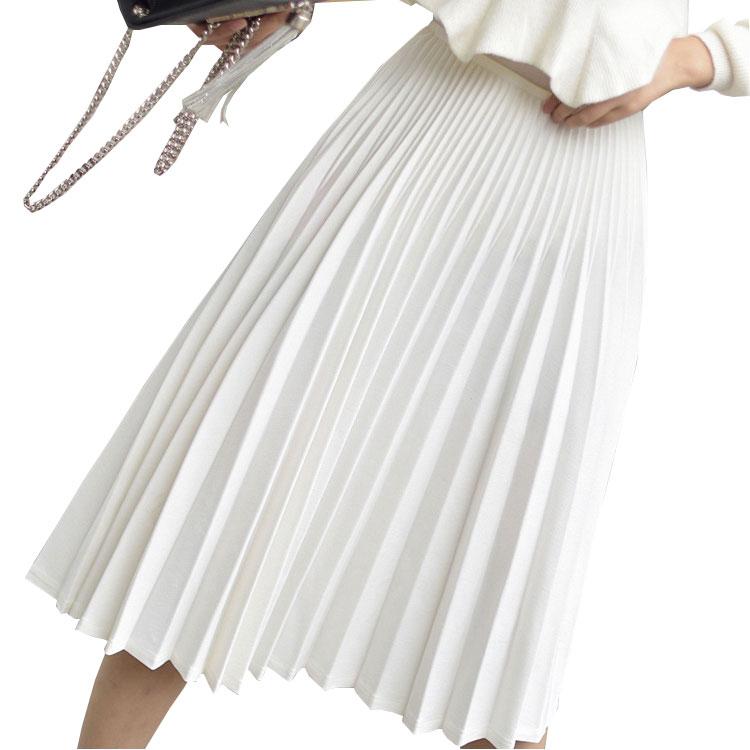 2020 primavera mujeres elegante Falda plisada de alta cintura mujeres blanco Falda larga mujeres señoras alta calidad mujeres Midi falda negra Saia