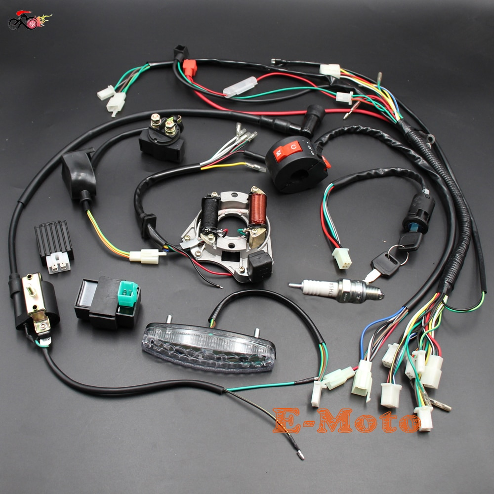 COMPLETE ELECTRICS Wiring Harness Coil CDI Stator Tail Light Assembly 50cc 70cc 90cc 110cc 125cc ATV Quad Bike Buggy Gokart NEW