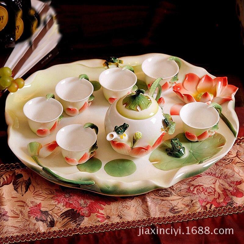 Juego de té de cerámica de taza de esmalte de porcelana creativa, regalos prácticos de alta calidad, estanque de loto