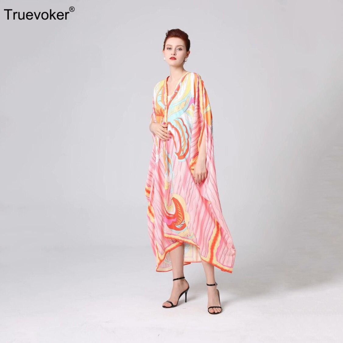 Женское однобортное платье Truevoker, Длинное свободное однобортное платье с рукавом летучая мышь, лето 2019