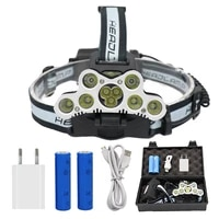 9 led rechargeable headlamp 7x t6 2x q5 tactical led headlight head lamp camping fishing light 2x 18650 battery charger
