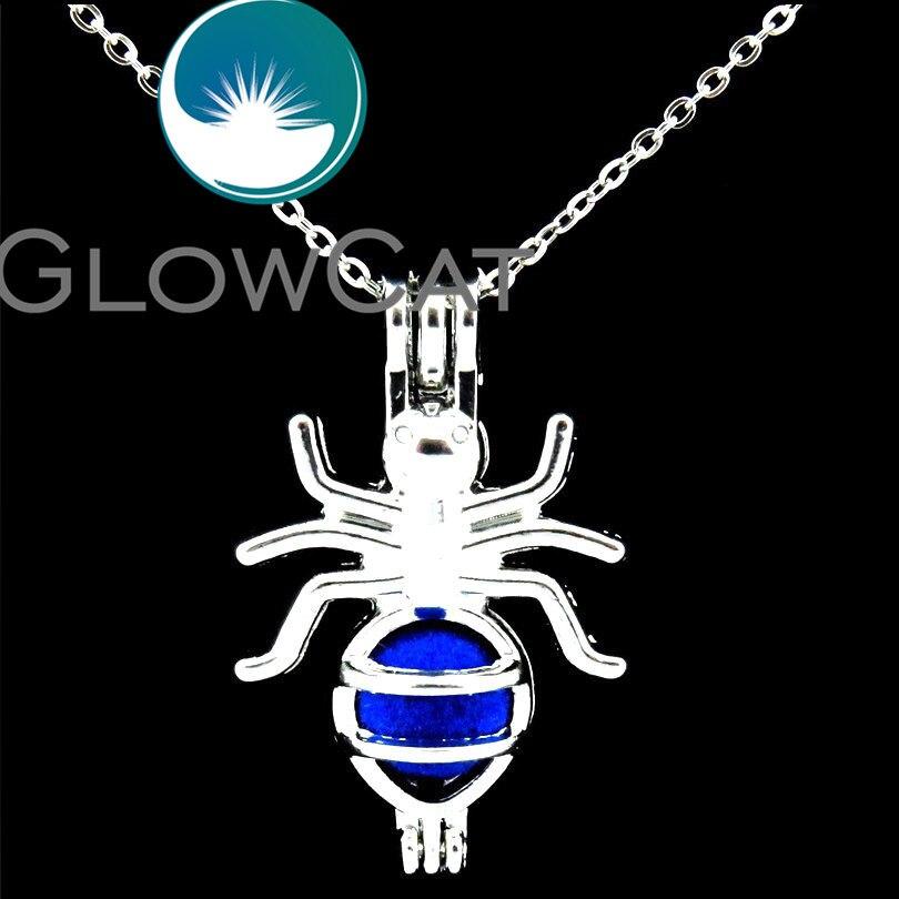 GLOWCAT LL546, collar con medallón para niños, cuentas de hormiga insecto de plata brillante, jaula difusor de perfume para aromaterapia, jaula de perlas