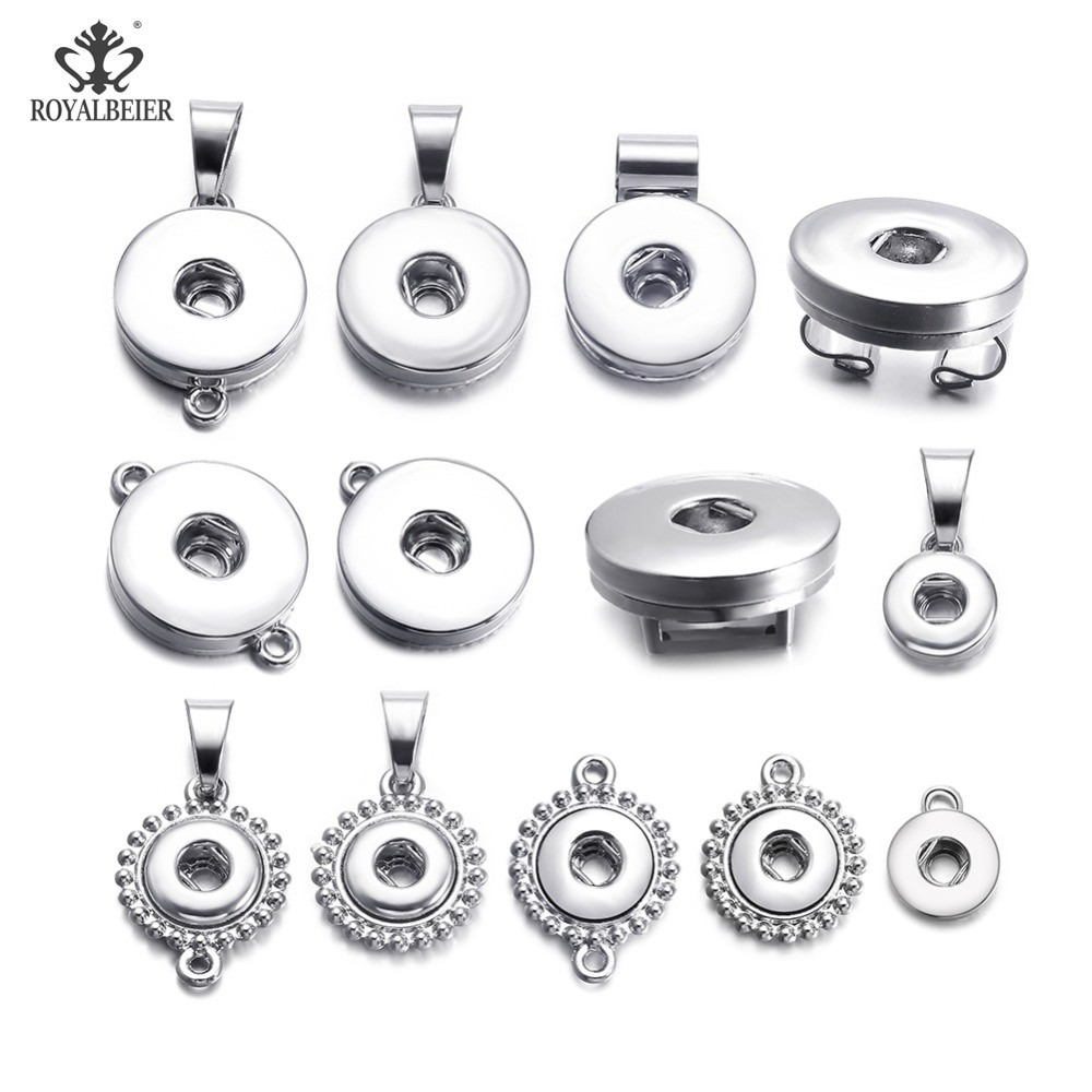 12pcs/lot Basical DIY Snap Button 12mm/18mm Interchangeable Snaps Base Charm For Bracelets Necklaces Jewelry Making