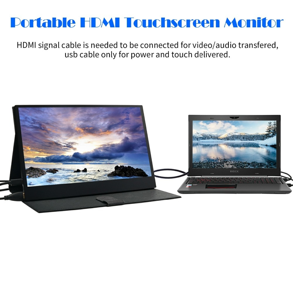 Wimaxit 13.3 Inch 1920 x 1080P IPS HDR Portable USB-C HDMI Monitor Ultra Slim Built-in Speaker for Laptop Phone Gaming M1330CT2