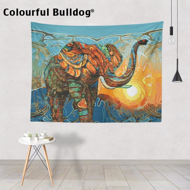 Coloré dessin animé Animal tenture murale tapisserie éléphant alpaga loup cerf couvre-lits Lion fleurs feuilles plage couvertures décor à la maison