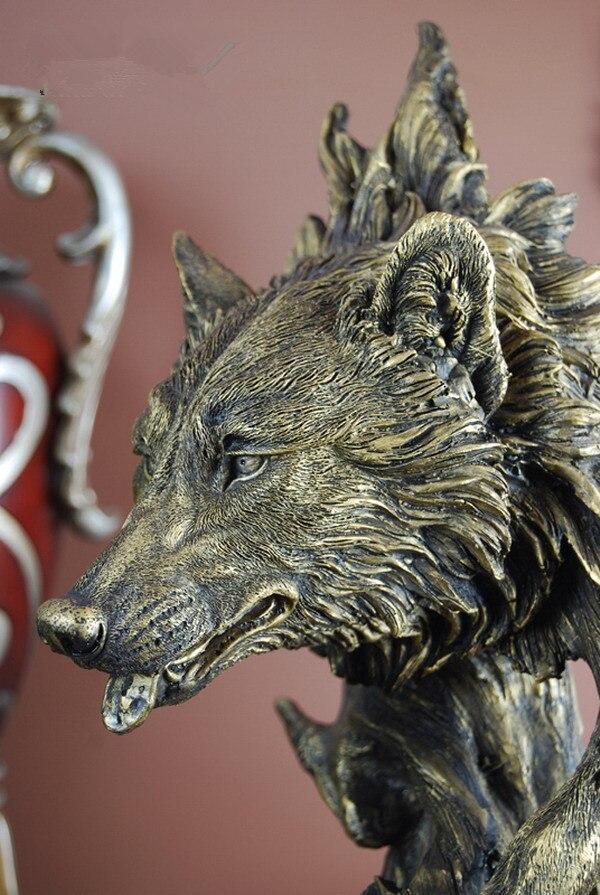 Decoración de lobo de gran tamaño, artesanía de resina, tallado en imitación de madera, decoraciones para el hogar, recuerdos (A917)
