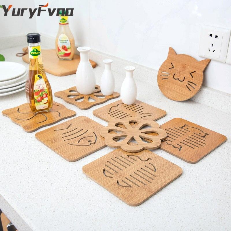 YuryFvna Bamboo Trivet кухонные бамбуковые горячие подушечки Trivet термостойкие подушечки для чайных горшков подставка для кофейных чашек