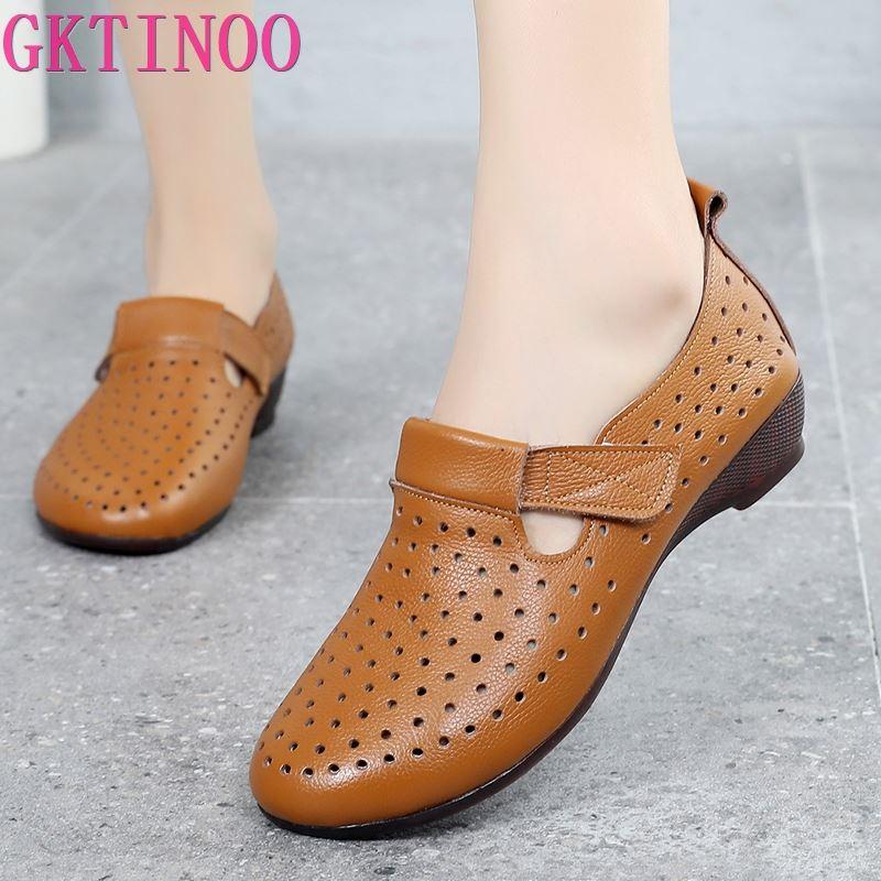 GKTINOO الربيع الصيف زلة على النساء أحذية الجوف تنفس جلد طبيعي الأخفاف الشقق أحذية الإناث عارضة النساء أحذية