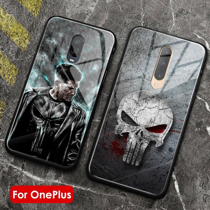 Punisher símbolo marvel cartel suave vidrio templado silicona suave 1 + 7t pro funda de teléfono carcasa para OnePlus 6 6t 7 7T pro