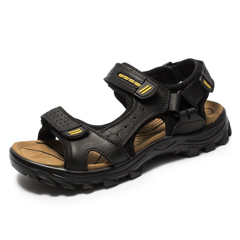 زائد حجم الرجال أزياء الشاطئ الصنادل المفتوحة جلد طبيعي صندل في الهواء الطلق المشي السفر الصيف الأحذية رجل sandalias hombre