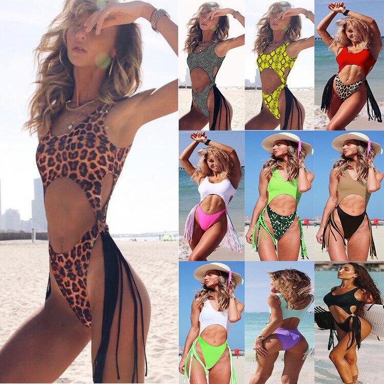 2019 neue Sexy Leopard Solide Farben Bademode Cut Out One Piece Badeanzug Hohl Stahl Ring Quaste Bikini Set Badeanzug a2363YPC