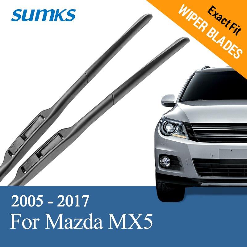 SUMKS limpiaparabrisas para Mazda MX5 ajuste gancho armas 2005, 2006, 2007, 2008, 2009, 2010, 2011, 2012, 2013, 2014, 2015, 2016, 2017