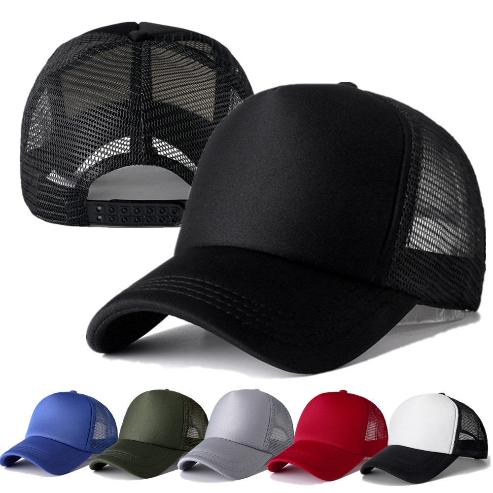 1 PCS Unisex Cap Casual Plain Mesh Baseball Cap Adjustable Snapback Hats For Women Men Hip Hop Truck