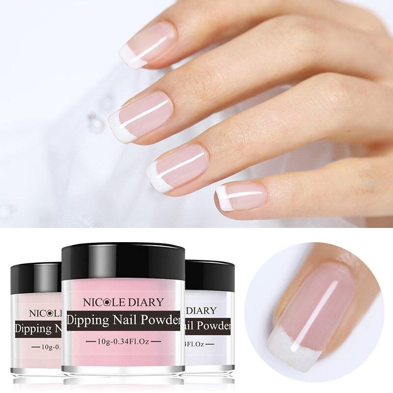NICOLE DIARY Dip Nail Powder 10ml gradiente francés Glitter sin lámpara Cure Base Top activador polaco líquido Set Decoración