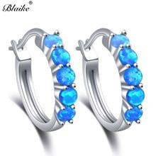 Blaike 925 Sterling Silver Round Hoop Earrings For Women Blue/White Fire Opal Earrings Rainbow Stone Circle Piercing Ear Jewelry