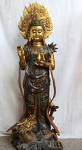 "JP S0524 45"" Chinese Bronze Gilt Cloisonne Kwan-yin Guan Yin Goddess On Dragon Statue Discount 35%"