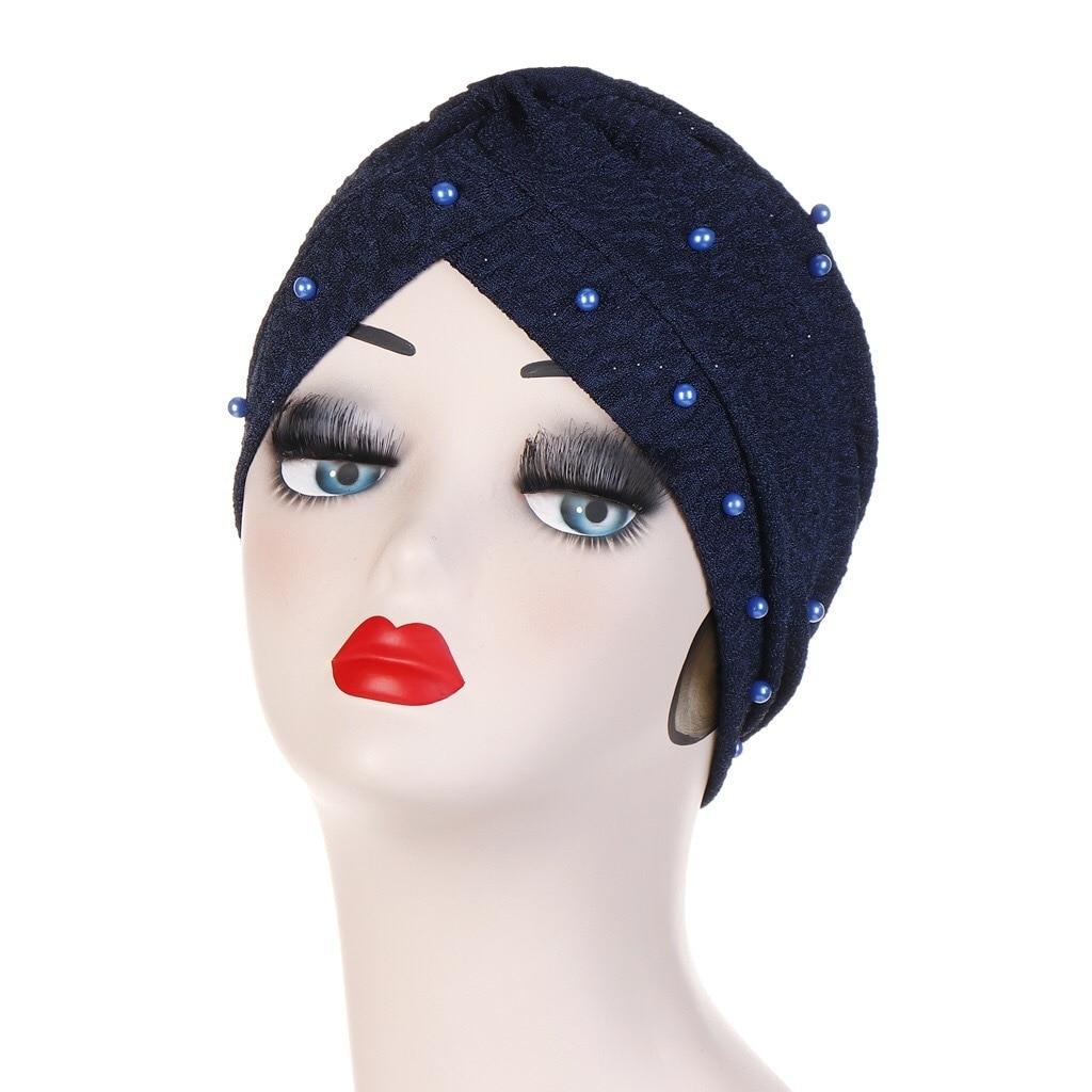 Best Color Scarf Hat Forehead Crossing Nail Bead Gold Fold Set Head Muslim dress Rendering Cap hijab caps headscarf