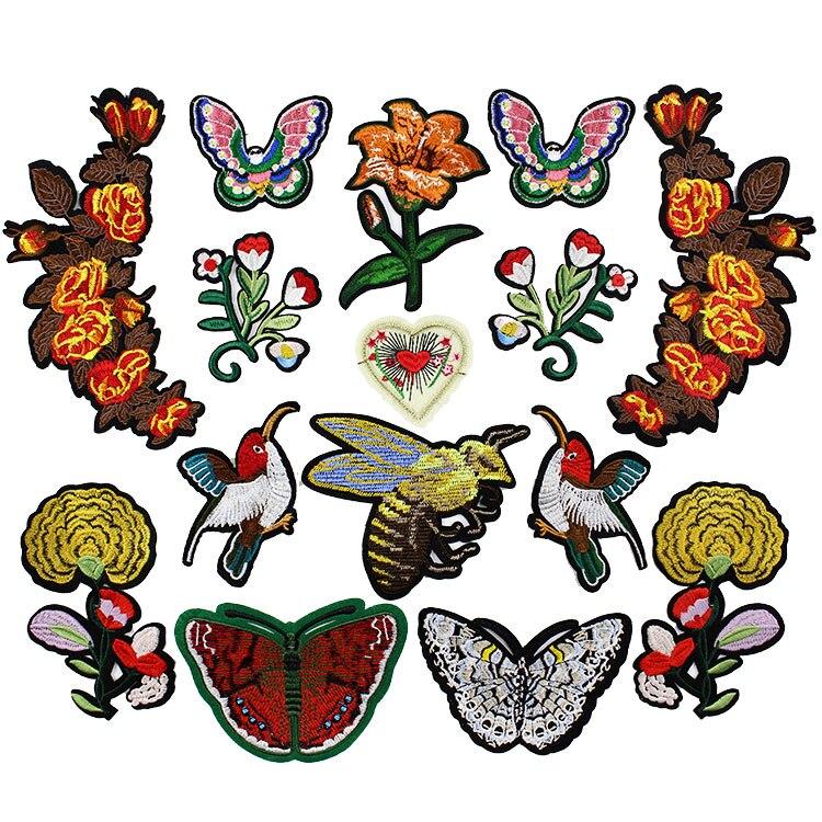 Bordados de flores e pássaros têxteis de vestuário camisola diy craft decorativa decalque patches remendo rendas applique