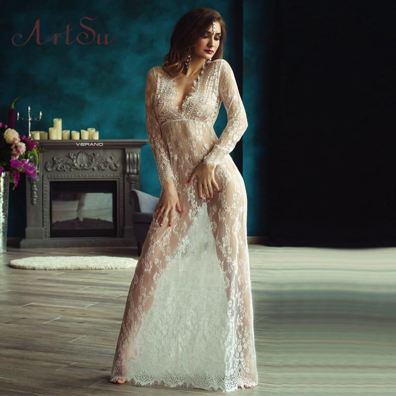Sexy Lace Maxi Dress Deep V-neck Long-Sleeve Elastic Waist Seethrough Mesh Lace Slim Long Dress