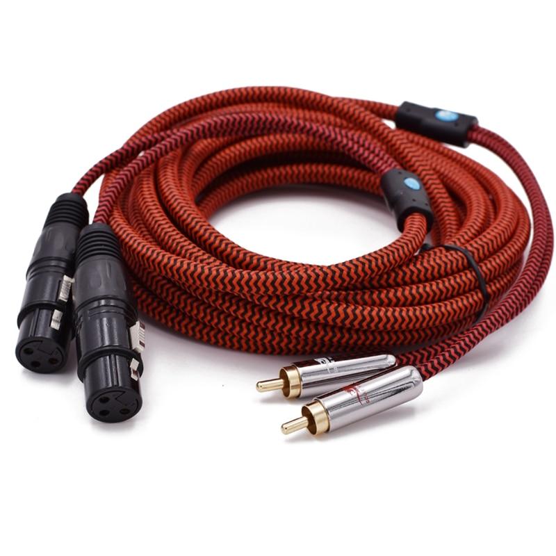 Audiphile-Cable de Audio 2 XLR hembra a 2 RCA macho para amplificador...