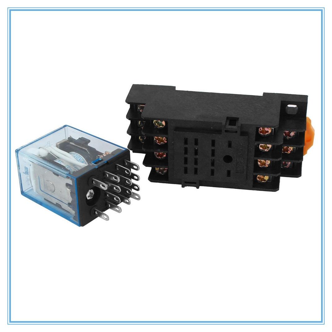 1Pc MY4NJ DC12V 24V AC110V 220V Electronic Micro Mini Electromagnetic Relay 5A 14PIN Coil 4DPDT With PYF14A Socket Base