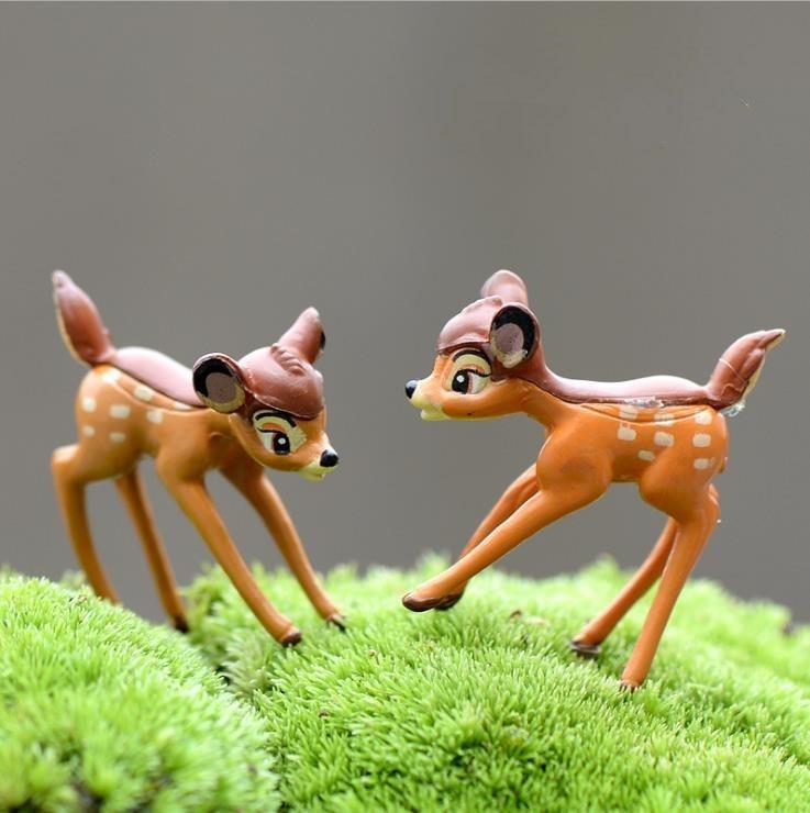 2 unids/lote PVC Mini Deers hadas jardín miniaturas decoración del hogar Anime casa de muñecas animales acción Bambi figurita Micro paisaje E360
