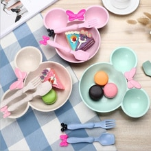 Food Grade Tarwe materiaal Leuke Cartoon mickey mouse grote Hoofd kom fruitschaal servies schotel voor Lepel Servies Set