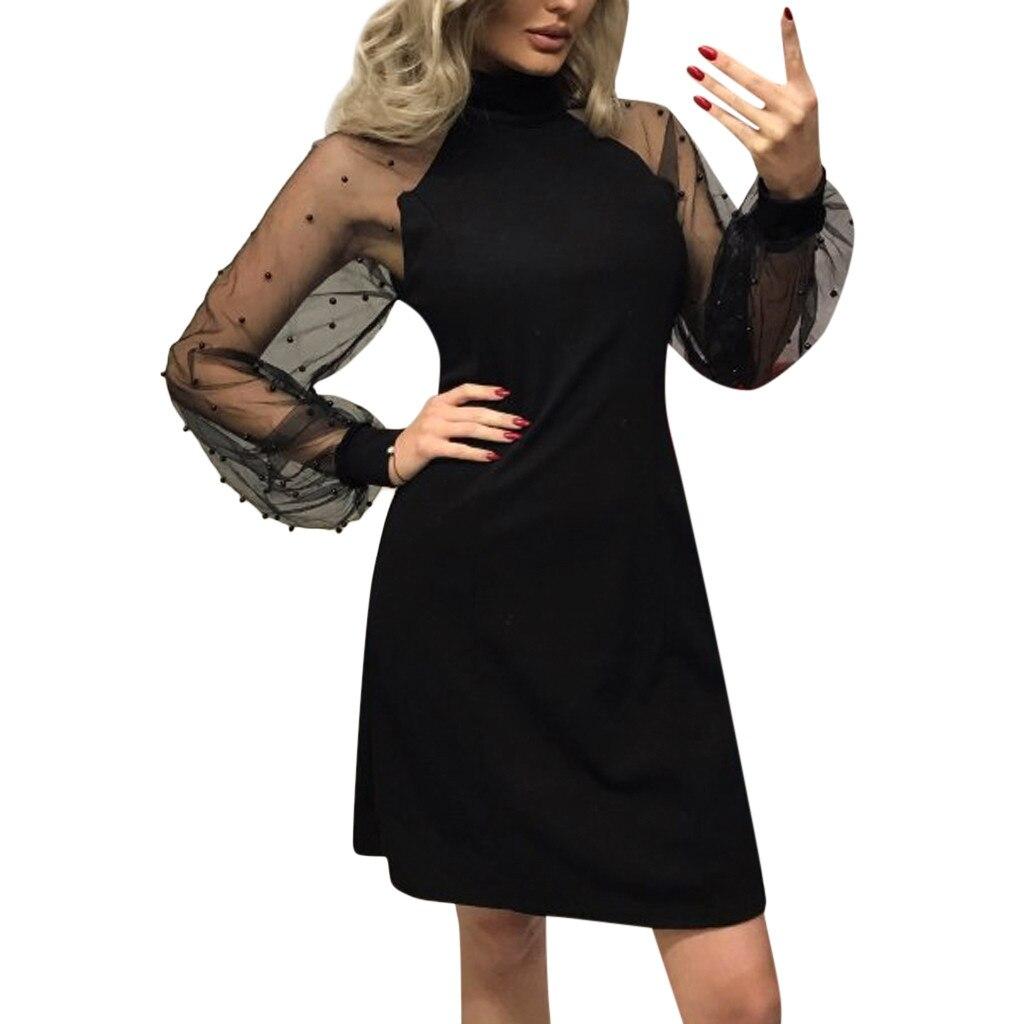 38 # élégant femmes robe 2018 automne perle perles maille manches tunique robes noir rose bleu à manches longues a-ligne Mini robe de soirée