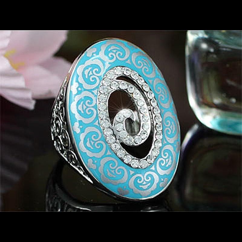 Peacock Star Vintage Style Aqua Blue, Red Ring use Austrian Crystal - CSR149
