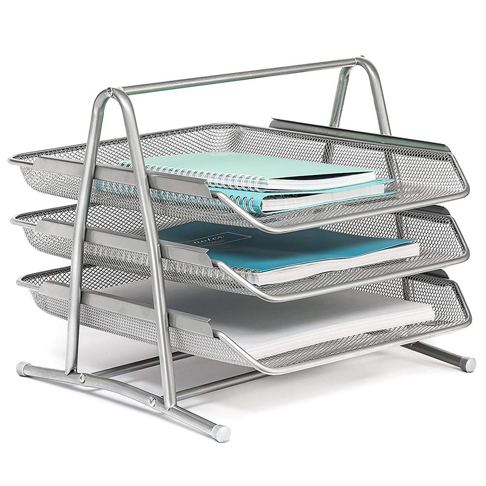 3 уровневый стол лоток для файлов офисный Настольный органайзер для документов металлическая сетчатая бумага держатель для файлов Серебряный тон