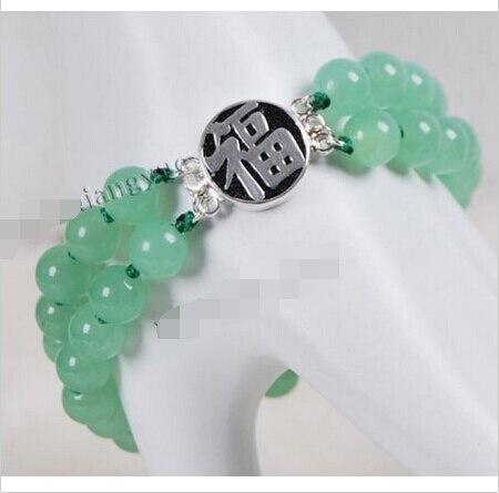 8 MM 2 rangées pierre verte perles rondes Bracelet 7.5