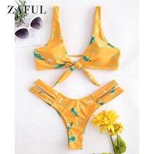 ZAFUL Tie Front Knot Bikini Set Leaf Swimwear Women Swimsuit Sexy Plunge Hollow Out Swimsuit Cut Out Bikini Padded Bathing Suit