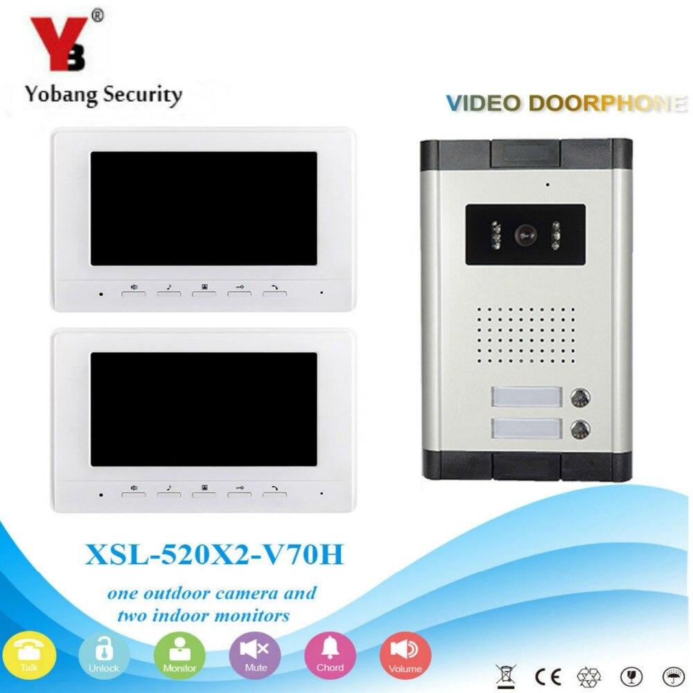 Sistema de intercomunicador de teléfono con puerta de vídeo de seguridad Yobang con pantalla LCD de 7 pulgadas impermeable intercomunicador Visual manos libres para unidades de apartamento/familia