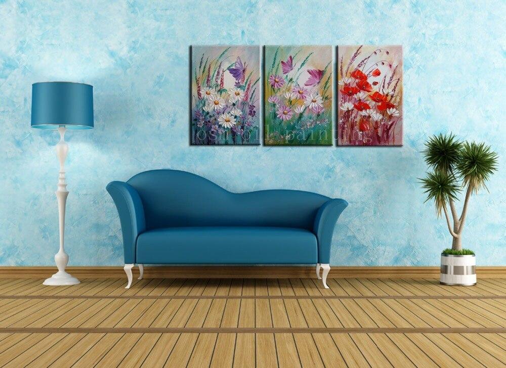 Habilidade superior Handpainting Moderno Abstrato Da Flor Da Margarida Rosa Série Buttterflies e Papoilas Vermelhas Prado Faca Pintura A Óleo sobre Tela