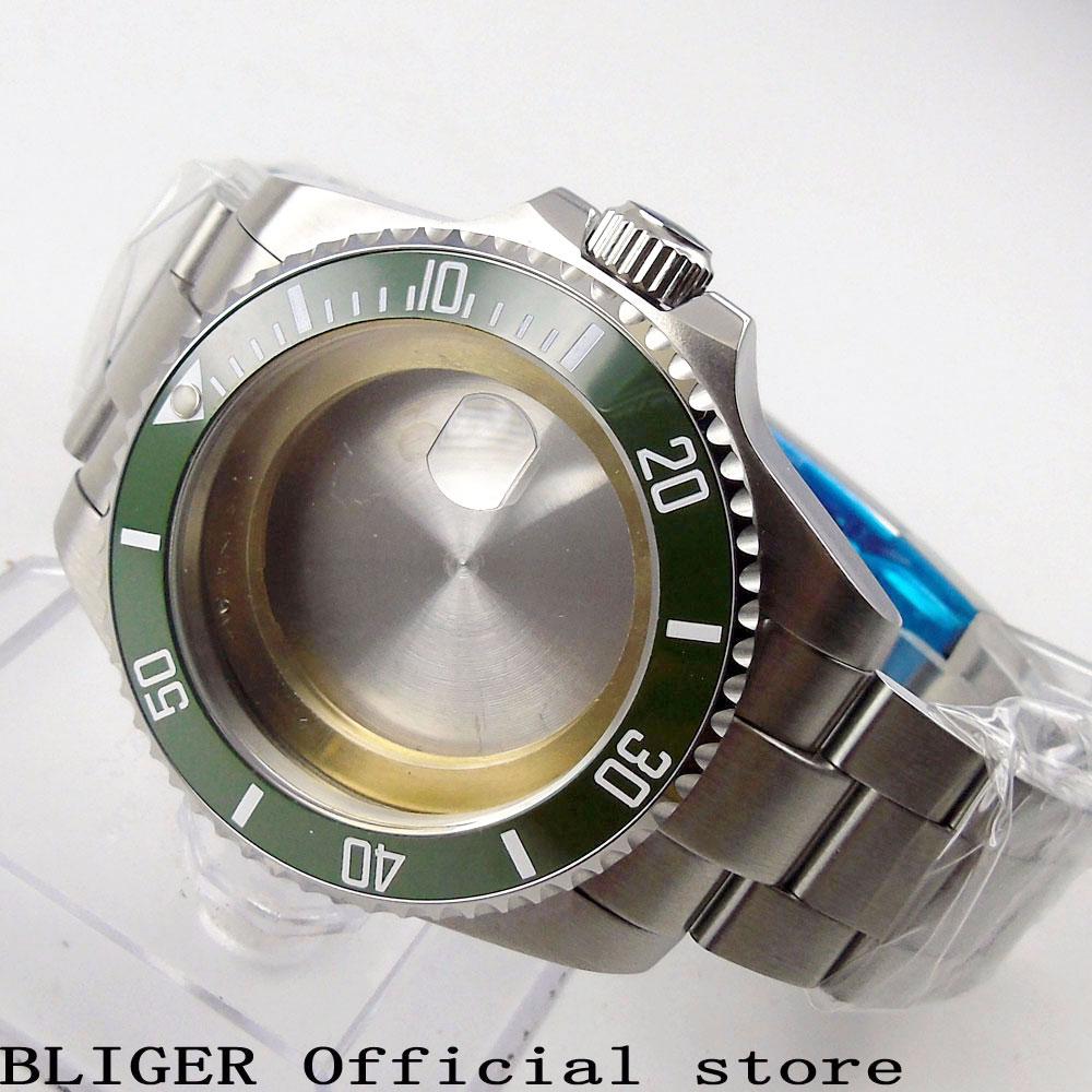 Caja de reloj sólida de 43MM con brazalete de acero inoxidable engaste de cerámica verde cristal de zafiro apto para reloj de movimiento ETA 2836