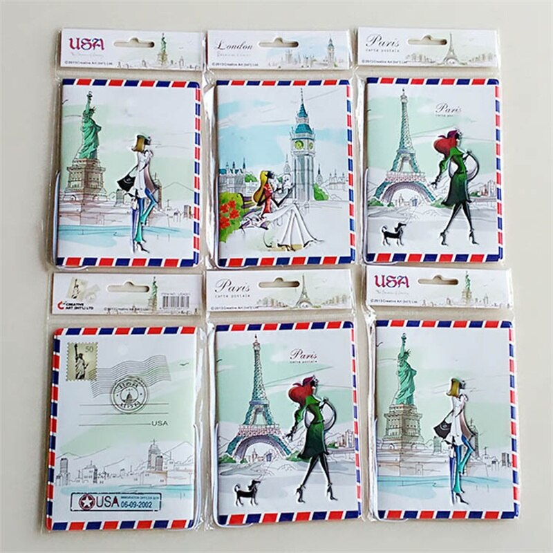 Funda de pasaporte de Estatua de la libertad, bolsa de tarjeta de identificación 14*9,6 CM, tarjetero de tarjeta de crédito de PVC de viaje de Miss Love, tarjetero de negocios