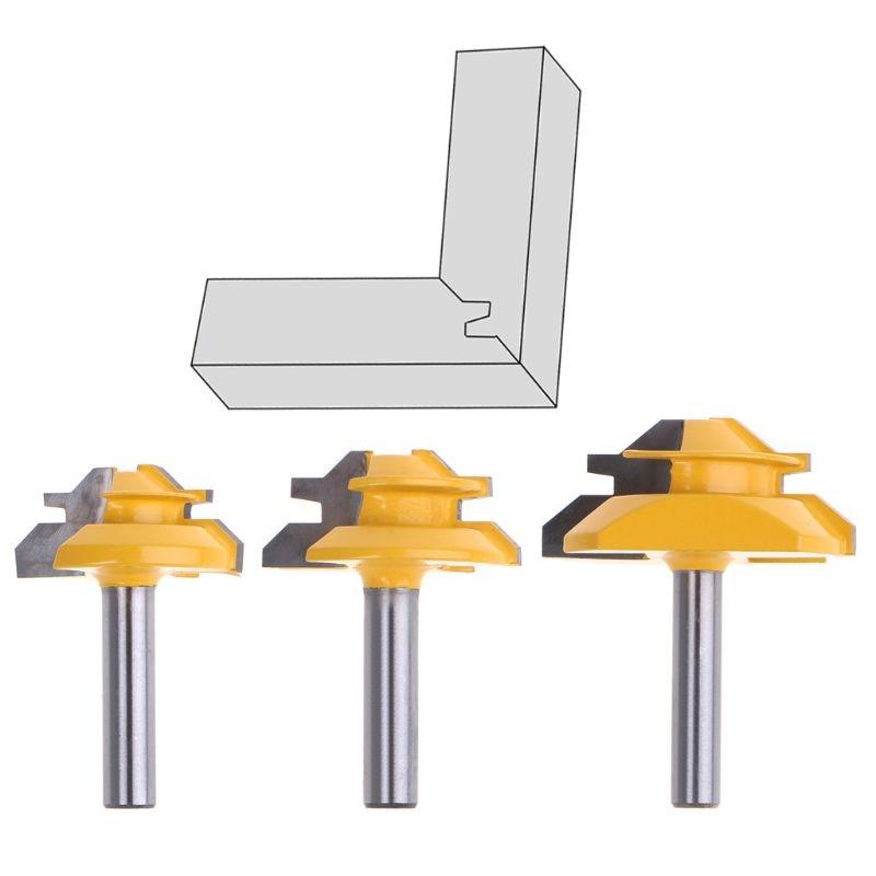 Inglete de bloqueo de 45 grados, grado 8*1-1/2 3/8 8*2, fresa de corte de vástago de 8mm, cortador de fresado, herramienta de trabajo de madera