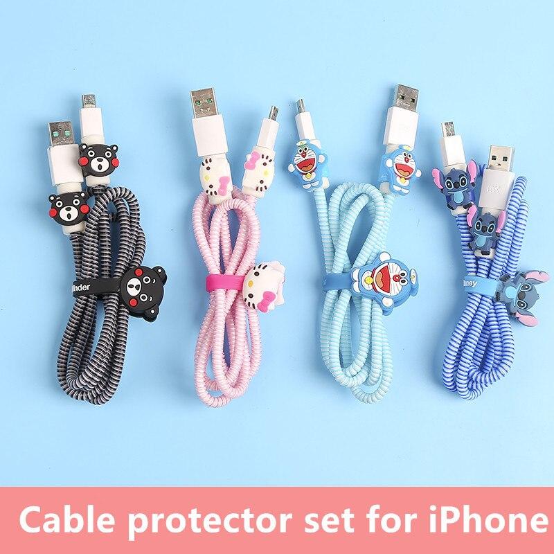 23 estilos USB cargador Cable Protector Diy Set con Cable enrollador carga pegatinas espiral protector de Cable para iphone 5 6 6s 7 8