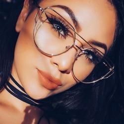 Женские очки в золотистой металлической оправе, винтажные очки с прозрачными линзами, оптическая оправа, унисекс, без градусов