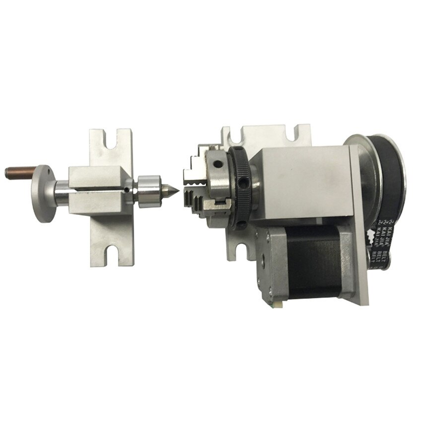 CNC 4th eje rotatorio K01 3Jaw 63mm/2.5In torno Chant Nema 17 paso a paso Motor divisor + Tailstock para carpintería CNC1520 Router