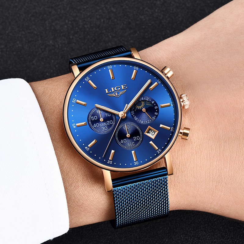 2019 New Women Gift Clock LIGE Fashion Brand Quartz Wristwatch Ladies Luxury Rose Gold Watch Female Watch Women Relogio Feminino enlarge