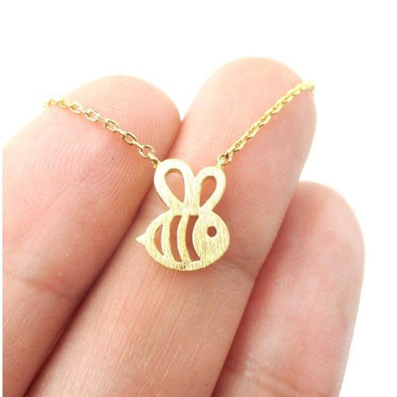 Qiming novo animal bonito bumble abelha colar feminino ouro prata bebê jóias bonito inseto charme colar para presente da menina