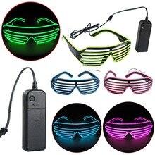 Heiße verkäufe EL Gläser EL Draht Mode Neon LED Licht Up Shutter Shaped Gläser Rave Festival DJ Party Dekorative Sonnenbrille
